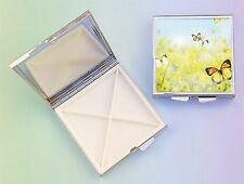 Butterflies 4 Compartment Square Metal Pill Box PBSB-3 by paws2print