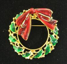Holiday Christmas Decorative Wreath Brooch