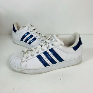 Vtg ADIDAS Superstar White & Metallic Blue Shell Toe Athletic Shoes Women's 8.5