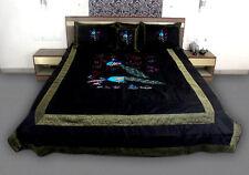 Velvet Peacock Print Silk King Bedding Set Cover Sheet Indian Bed Decor