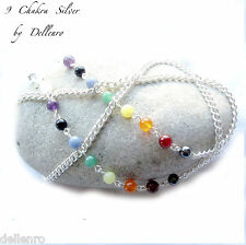 ✫ 9 Chakra ✫ Piedras Preciosas Plata Plateado recetadas gafas gafas gafas Cadena Porta Cable