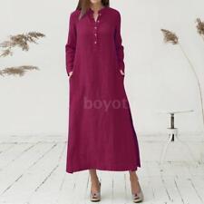Women's Plain Long Sleeve Casaul Cotton Oversized Maxi Long Shirt Kaftan Dress
