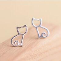 925 Silver Cute Cat Head Kitten Animal Earrings Gold Knot Post Stud Earrings