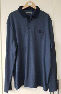 TU Men's Shirt Size Large Navy Blue Long Sleeve Collared Brand New T-shirt
