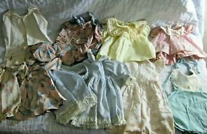 VINTAGE BABY DOLL CLOTHES LOT ANTIQUE MID CENTURY GIRL DRESSES 10 12 INCH SET