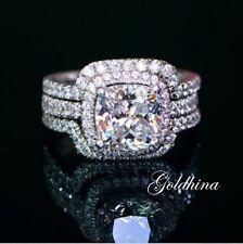 2.80 Crt Bridal Sets Band Rings Engagement/Wedding Ring 14k White Gold Over.