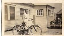 PrettyFashion Dress Woman Standing By Bicycle Old Car Vintage 1940s Photo