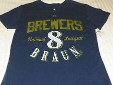 """""""NEW"""" MLB ~ Milwaukee Brewers ~ JERSEY SHIRT Women Junior Sz M 7/9 7 9 Blue"""