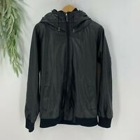 B.Scott Mens Faux Leather Bomber Moto Jacket Size Medium M Black Hooded Zip IP