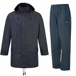 Fort Flex Waterproof Work Jacket & Trousers Navy PU TRICOT Fabric (Sizes S-XXXL)