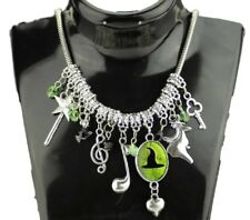 Broadway Musical Wicked (7 Themed Charms) Silvertone Charm Necklace