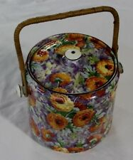 RARE Crown Ducal Ware England Marigold Chintz Biscuit Barrel Jar Wicker Handle