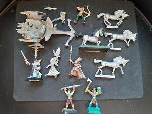 elven attack chariot warhammer citadel & 3 elf personalities metal oop 1987 Rare