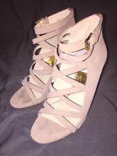 Women's  Michael Kors THEODORE BACK ZIP Strappy Open Toe Sandal Heels Khaki 8.5
