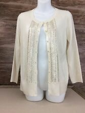 Women's Banana Republic  Cardigan Sweater Size Medium Chevron Pattern Beading