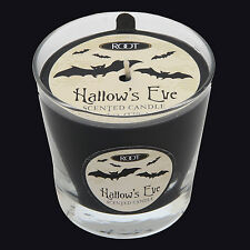ROOT CANDLES HALLOWEEN VERIGLASS SCENTED CANDLE - HALLOWS EVE. BLACK CANDLE.