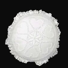 2 Cottage Candlewick Pillow Cream Embroidery Ruffles Lace Trim Handmade
