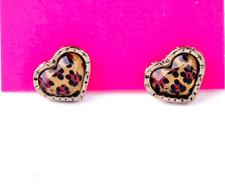 New Cool betsey johnson Fashion Leopard grain peach heart stud earrings N291