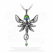 Alchemy Gothic Crystal The Green Goddess Absinthe Fairy Pendant Necklace P763