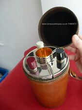 More details for vintage leather cased flasks and cups