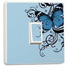Blue & Black Butterfly Light Switch Sticker vinyl cover skin