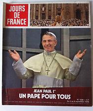 """Magazine Jours de France N°1238 du 2/09/1978; Jean Paul Ier """"Un pape pour tous"""""""