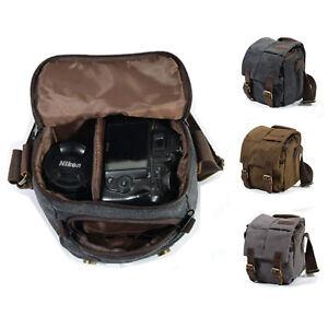 Canvas Cow Leather DSLR SLR Vintage Camera Shoulder Messenger Bag For Canon Sony