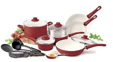 Ceramic Pots And Pans Non-stick Cookware Set Burgundy Red White 16 Pc Oven Safe