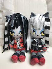 Lot of 2 Kids Monster High Stylish Werecat Sisters Plushy Dolls, 10 inches