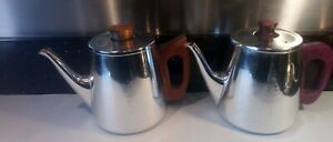 Sona Vintage Retro Teapot & Coffee Pot 1960s Stainless Steel Teak Handles