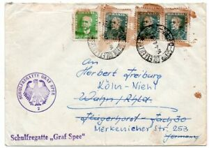 1940´s BRAZIL TO GERMANY GRAF SPEE SHIP COVER, SPECIAL COLOR CANCELS !