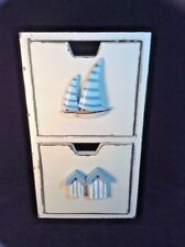 Wood 2 Drawer Storage Box Boat Distressed White Organizing Nautical Beach Theme