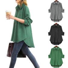 Damen T-Shirt Hemd Blusenhemd Freizeit Bluse Oberteile Lose Longtop Longshirts