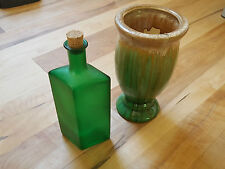 Pottery Vase Green Brown Crackle Glaze Sea Dark Glass Green Glass Bottle Cork