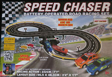RC Speed Chaser Road Racing Set 7' Race Track + 2 Slot Cars! Battery Operated