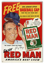 Vintage Antique Style Metal Sign Red man Chew 12x18