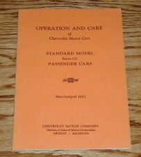 1933 Chevrolet Standard Passenger Cars Owners Operators Manual Series CC Chevy