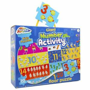 Grafix: Giant Number Activity Kids Floor Puzzle 88 x 58.5cm- 30 Pieces - 3+ Yrs