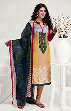 DULLMSTRDYELO PRINTED COTTON INDIAN SALWAR KAMEEZ SUIT DRESS MATERIAL LADIES DEN
