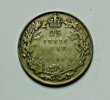 1936 CANADA George V Silver Coin - 25 Cents - uneven-tone