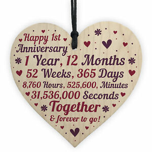 1st 2nd 5th 10th 20th 25th 50th Wedding Anniversary Wooden Heart Mr & Mrs Gifts