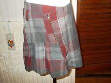Jupe courte coton/polyester écossais rouge PHILDAR 46 bas volant
