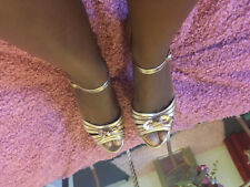 Used gold Open Toe Size 7 Shoes Leather