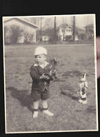 Adorable Boy in Easter clothes w Stuffed Rabbit & Horse 1947 Easter Photo