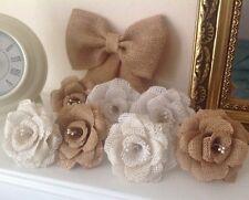 Hessian Cake Kit - Flowers & Bow Wedding Shabby Chic Rustic
