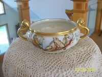Jaeger & Co. Porcelain Double Handle Gilt Gold Hand Painted Ornate Bird Bowl