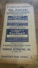 Vintage Chandler's pure aspirin advertising card box shop display