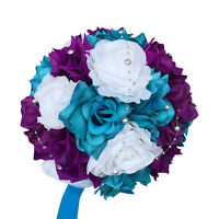 "10"" Round Wedding Bouquet - Malibu Turquoise, Purple, White, and Silver"