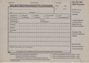 DDR Selbstbedienungs Telegramm mit Schmuckblatt *
