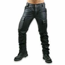 Men's Black Genuine Leather Cargo Pants Trouser